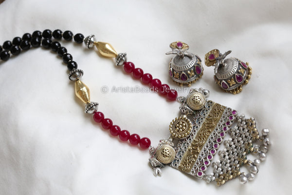 Dual Tone Ruby Black Necklace