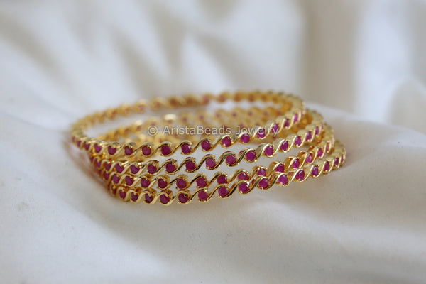 Contemporary Ruby Bangle (Set of 4)