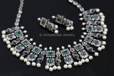 Nakshi Oxidized Silver Look CZ Set - Green