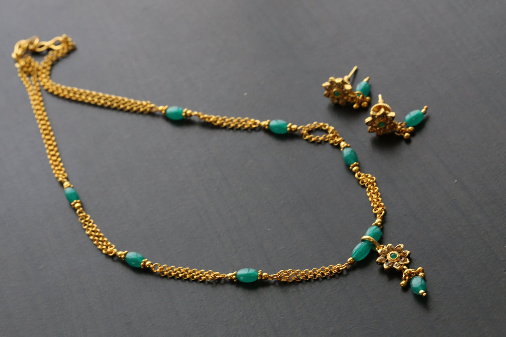 Gold Delicate Chain Necklace - Green