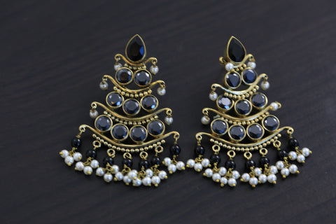 Antique 3 Tier Earrings - Black