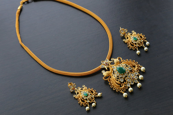 Emerald & Clear Polki Necklace Set