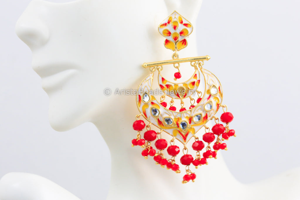 Offwhite Red Enamel Chandbaali