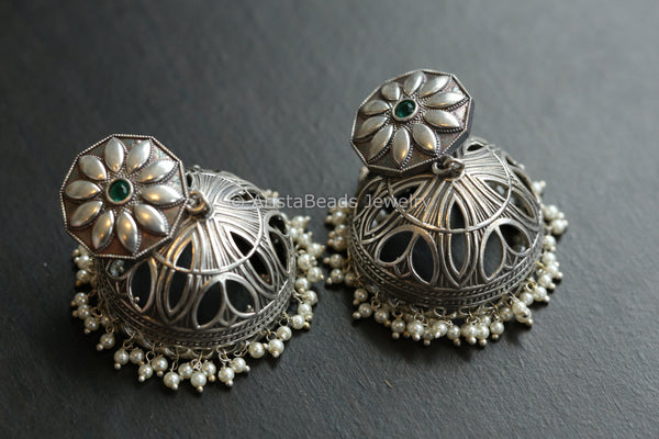 Large Jhumka - Green