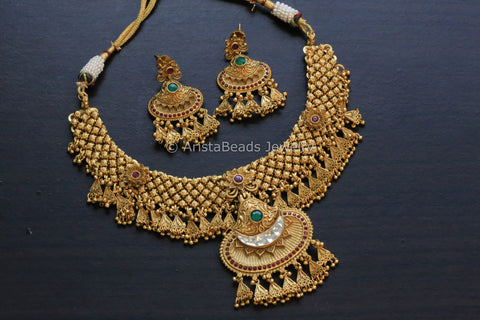 Silver Look Alike Antique Gold Kundan Set