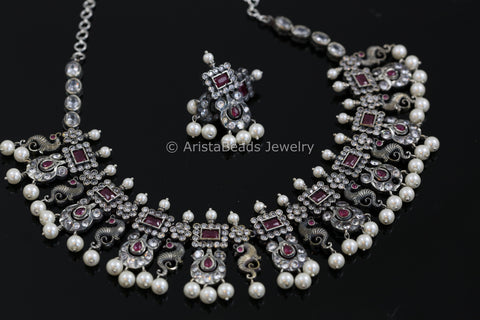Nakshi Oxidized Silver Look CZ Set - Ruby