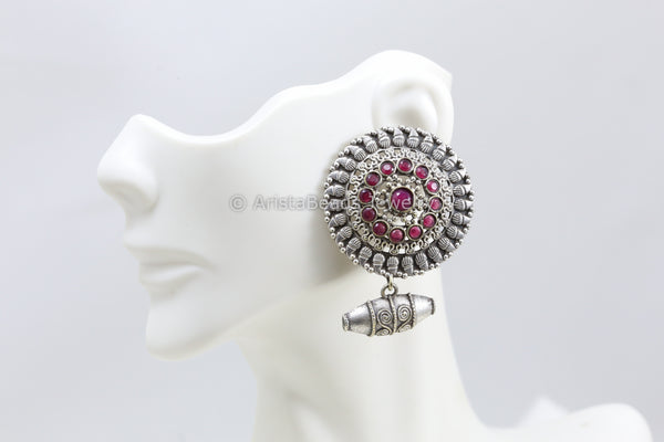 Large Stud With Bead Drops - Ruby