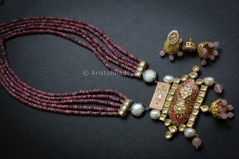 Pink Jadau Kundan Jhumka Necklace