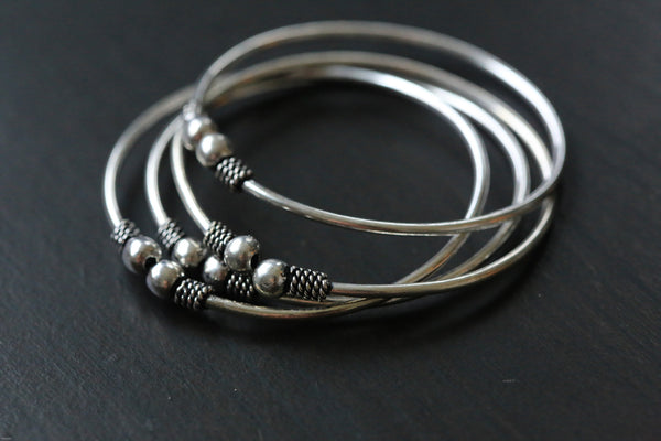 Oxidized Silver Metal Tribal Cuff Bangle - AristaBeads Jewelry - 1