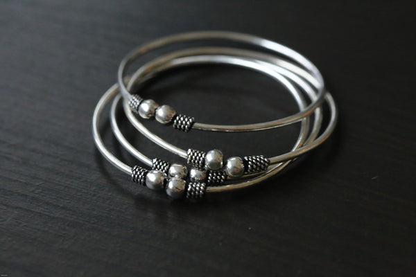Oxidized Silver Metal Tribal Cuff Bangle - AristaBeads Jewelry - 2