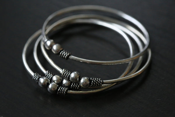 Oxidized Silver Metal Tribal Cuff Bangle - AristaBeads Jewelry - 3