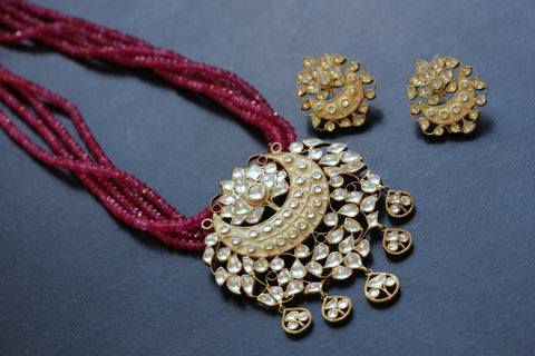 925 Silver Lotus Kundan Necklace Set