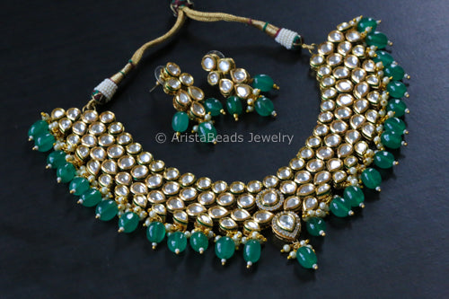 Royal Kundan Necklace Set With Emerald Drops