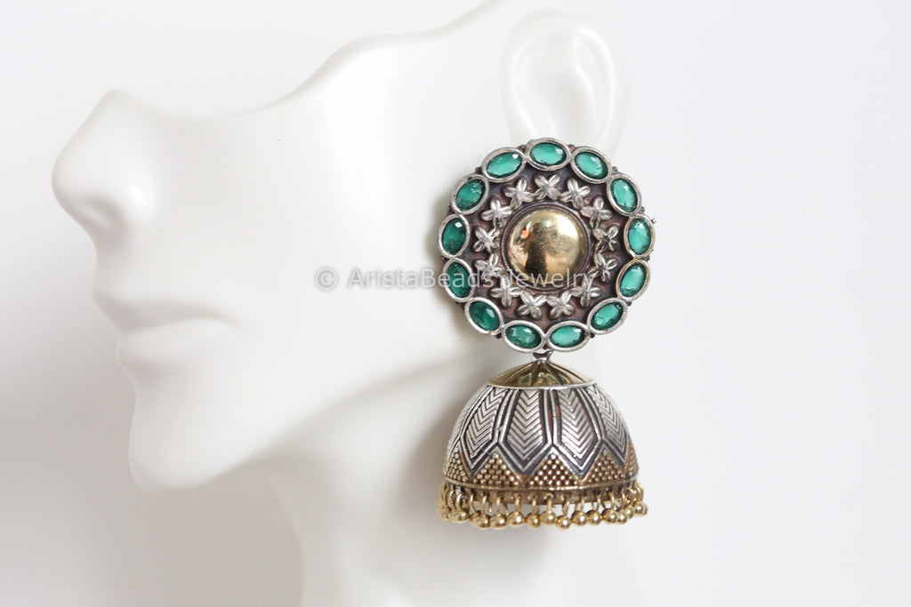 Large Emerald Stud Jhumka