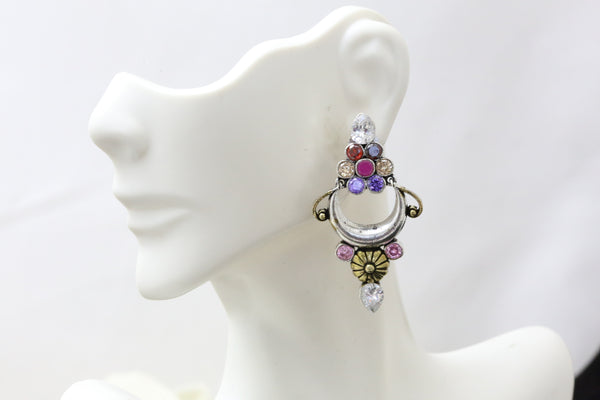 Silver Look Multicolor Earrings
