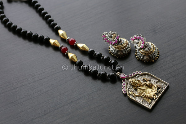 Black Dual Tone Ganesha Necklace Set