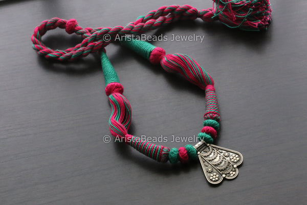925 Silver Pendant - Red Magenta Thread