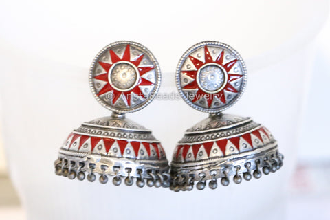 Mandala Red Enamel Earrings