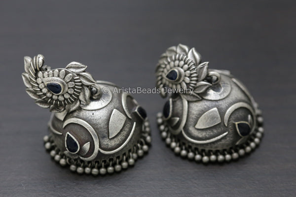Large Blue Silver Plated Jhumka