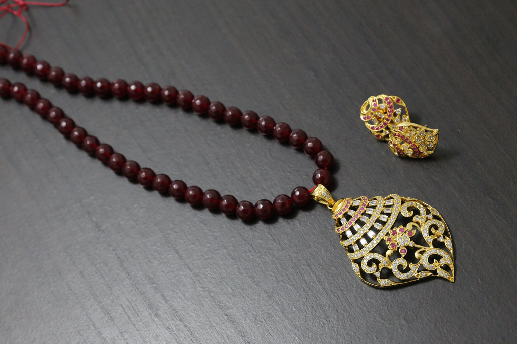 Ruby Shankh Necklace Set