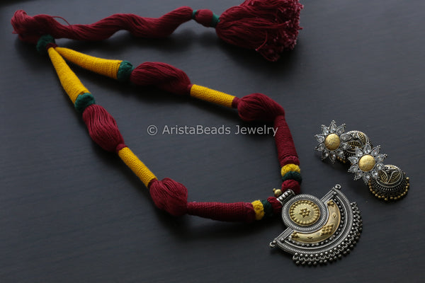 2 Tone Handmade Necklace - Red Yellow Thread