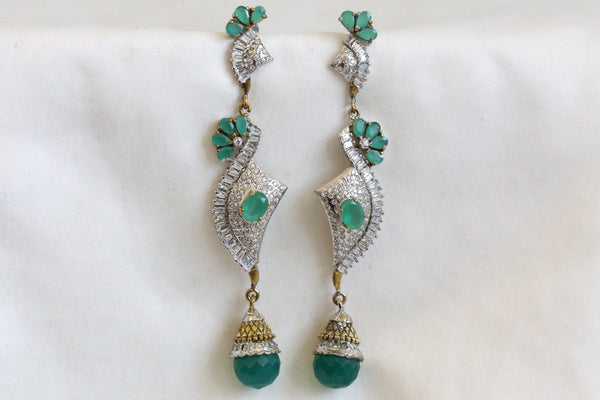 Long Green Victorian Earrings