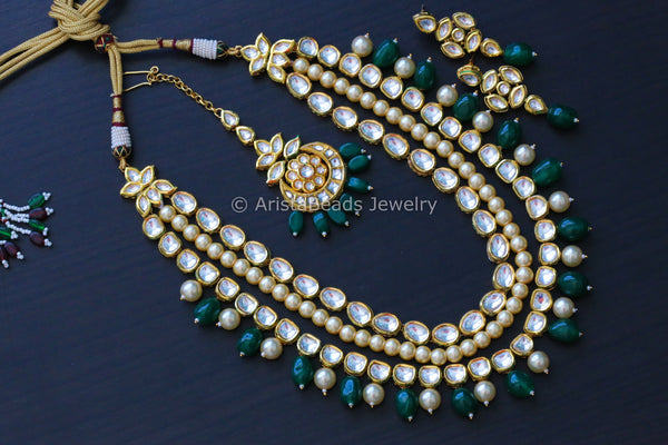 Layered Emerald Kundan Necklace
