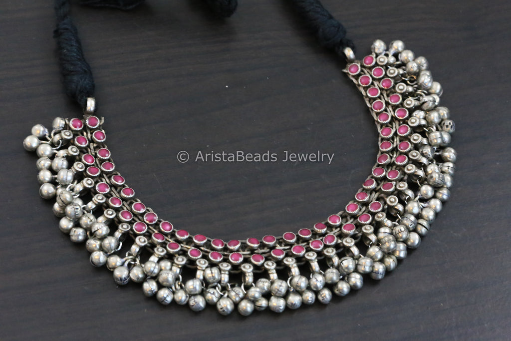 Burgendy Pink Enamel Ghungroo Necklace