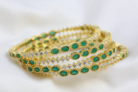 Green Clear Polki Bangle Set  (Set of 4)