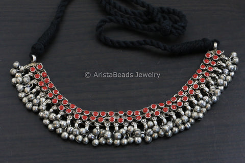 Red Enamel Ghungroo Necklace