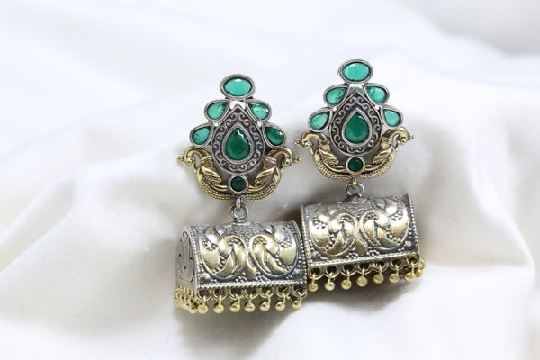 Green Peacock Stud Jhumka