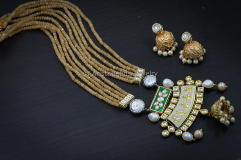 Peack Jadau Kundan Jhumka Necklace