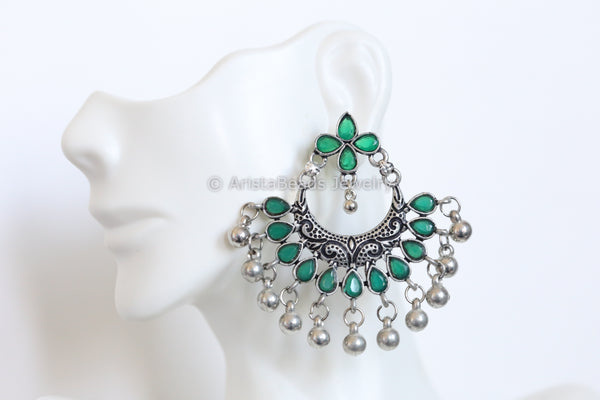Oxidized Emerald Green Chandbaali
