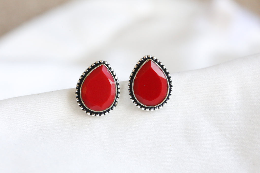 Red Teardrop Stud