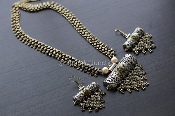 Oxidized Antique Finish Tribal Necklace
