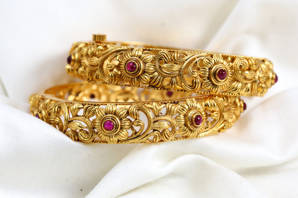 Openable Gold Ruby Bangle