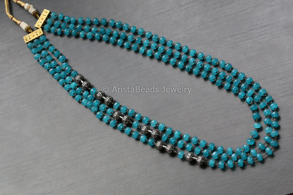 Contemporary Chalcedony Blue Layered Mala