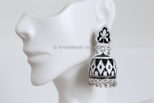 Black & White Enamel Jhumka