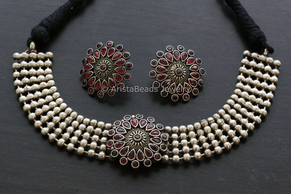 Red Stone Choker & Studs Set