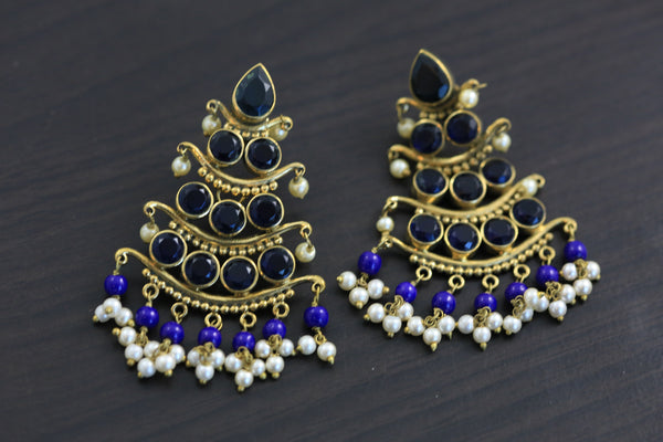 Antique 3 Tier Earrings - Blue