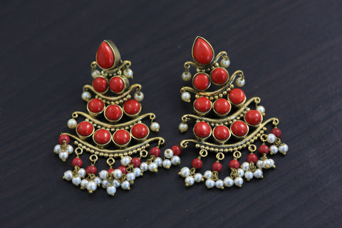Antique 3 Tier Earrings - Coral