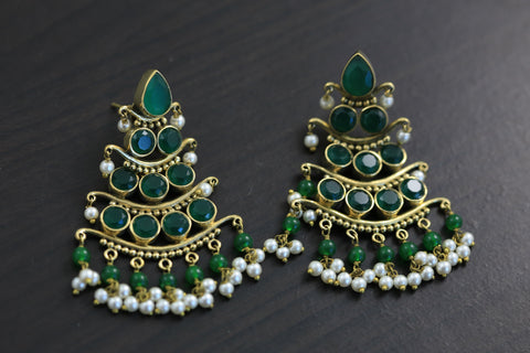 Antique 3 Tier Earrings - Emerald