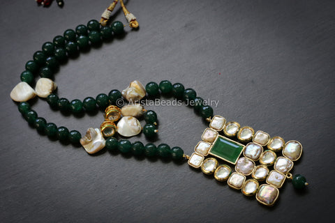 Emerald Baroque Pearl Kundan Necklace