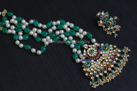 Long Jadau Peacock Kundan Necklace