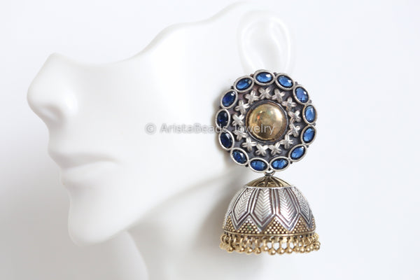 Large Blue Stud Jhumka