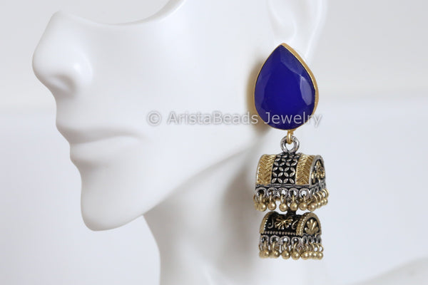 Blue Stud 2 Tier Jhumka
