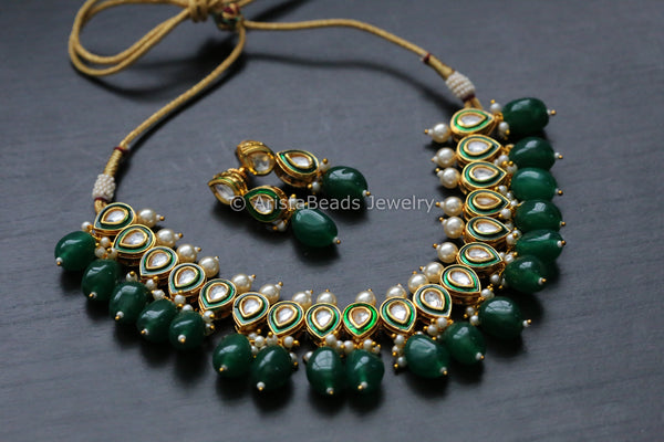 Delicate Emerald Pearl Kundan Necklace