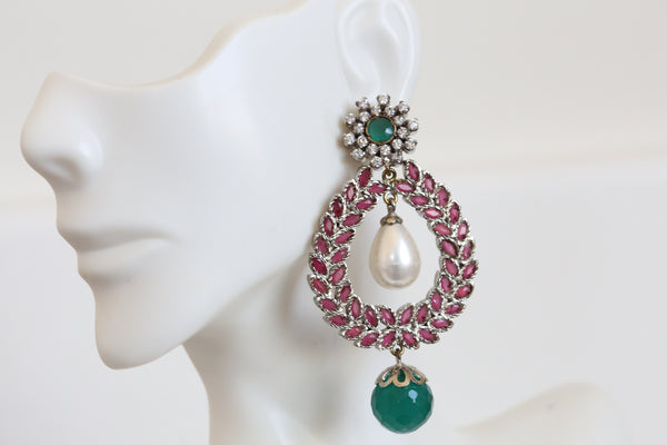 Emerald Ruby Victorian Chandbaali
