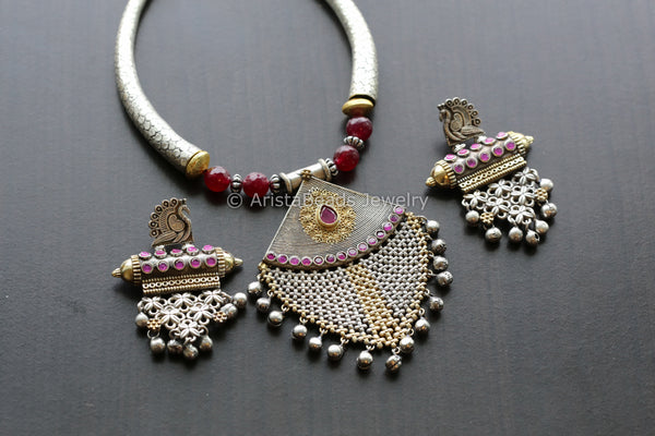Dual Tone Ruby Hasli Necklace
