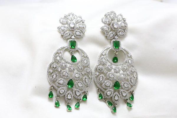 Large Silver Finish Green CZ Chandbaali